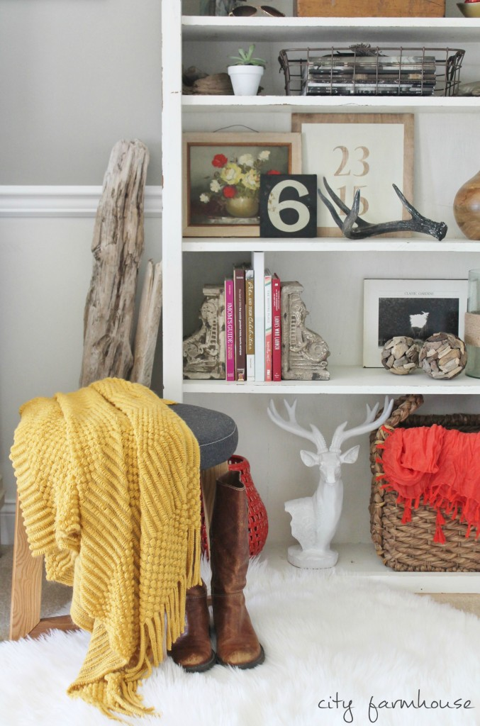 Rustic Chic Fall Shelves & Free Fall Printable {using coral & gold}