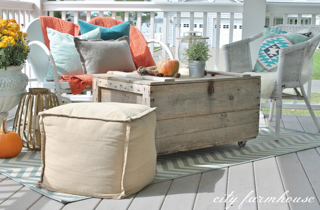 Rustic Fall Porch-Colorful & Fun Pillows from H & M and West Elm
