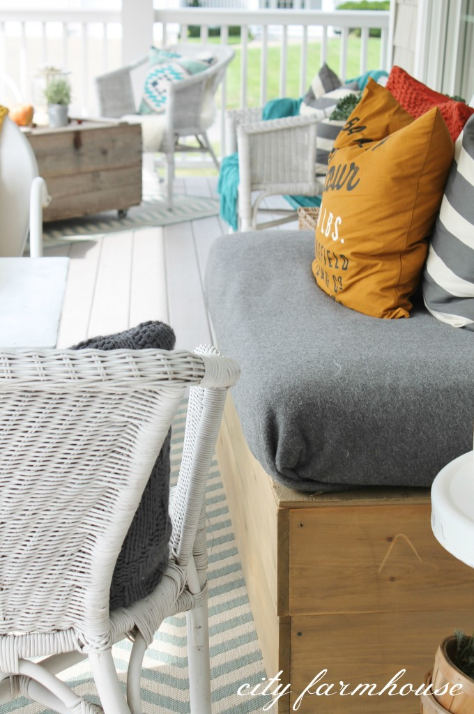 Rustic Fall Porch-DIY Sofa
