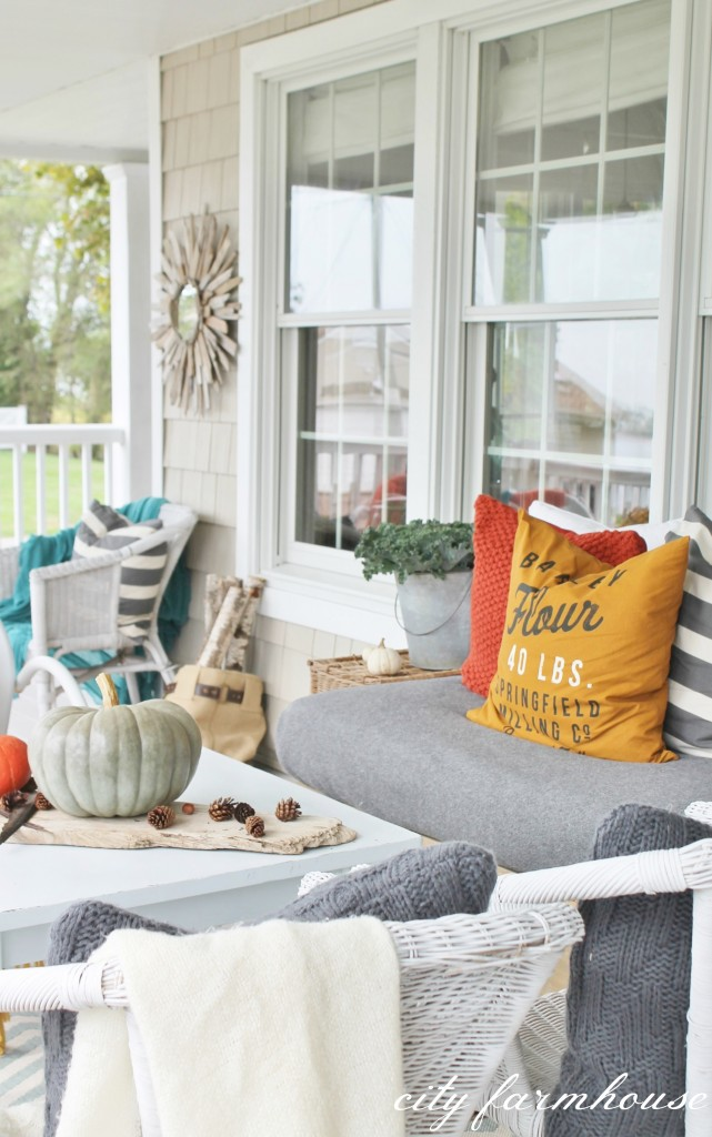 Rustic Fall Porch-Driftwood Mirror & Colorful Details