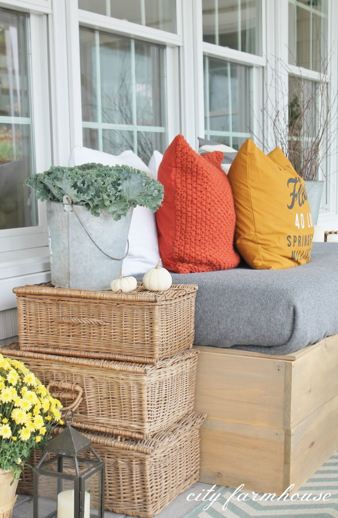 Stacked Vintage Baskets-Rustic Fall Porch