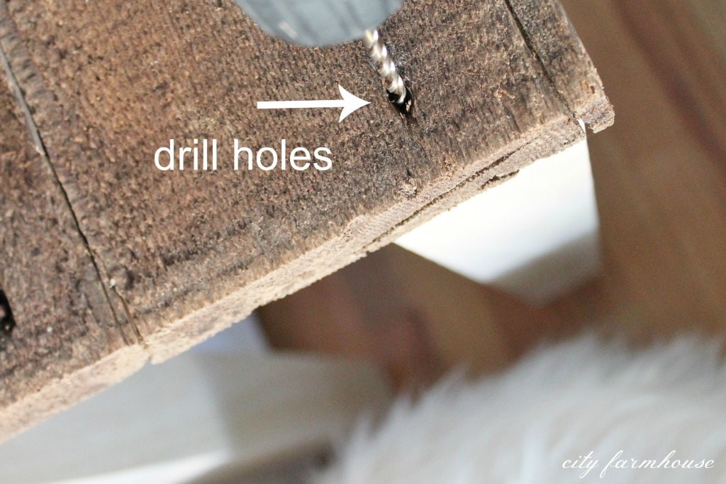 DIY Sofa Table-drill holes {1 in each corner}