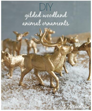DIY Gilded Woodland Animal Ornaments