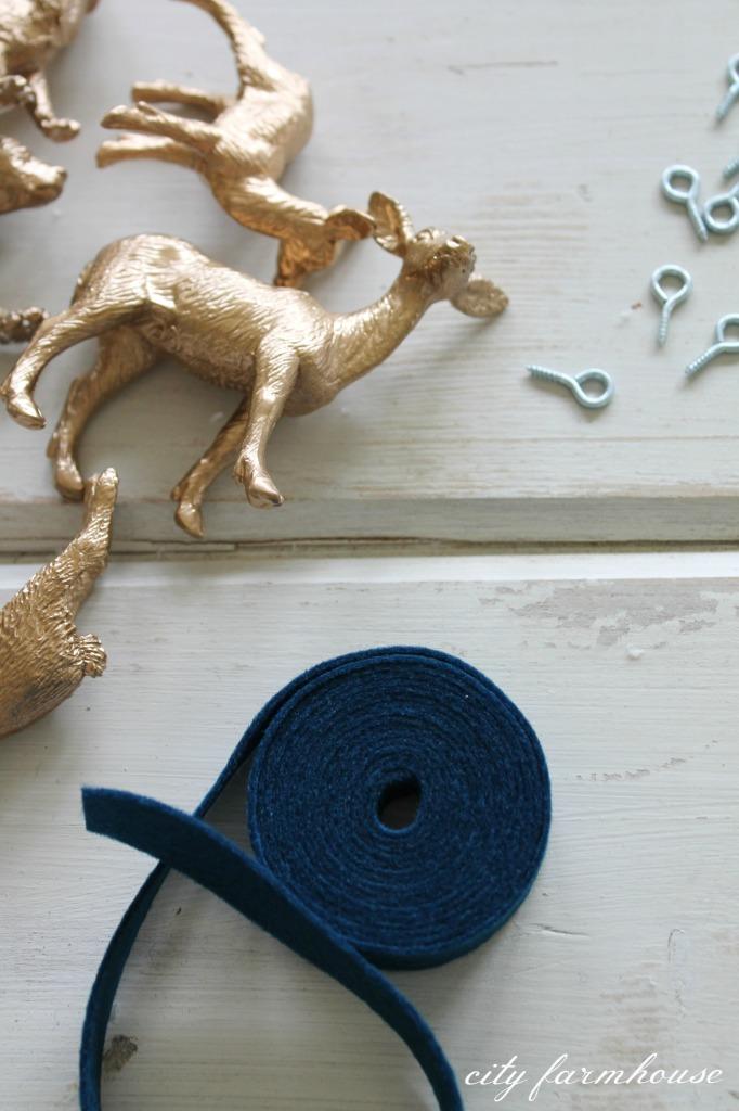 DIY Gold Gilded Woodland Ornaments-so simple & fun