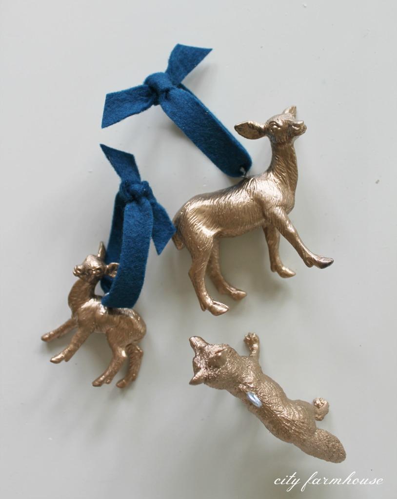 DIY Gold Gilded Woodland Ornaments with Felt Ribbon