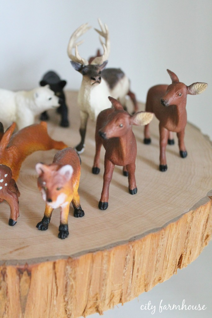 DIY gilded woodland animal ornaments-the before