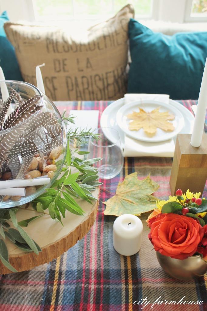 Gratitide Jar & Fresh Herbs= Thanksgiving Table