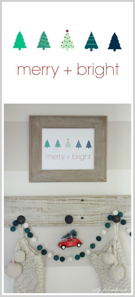 Merry + Bright Christmas Printable & Vignette 2