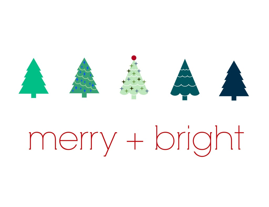 Merry + Bright Free Printable Red Version