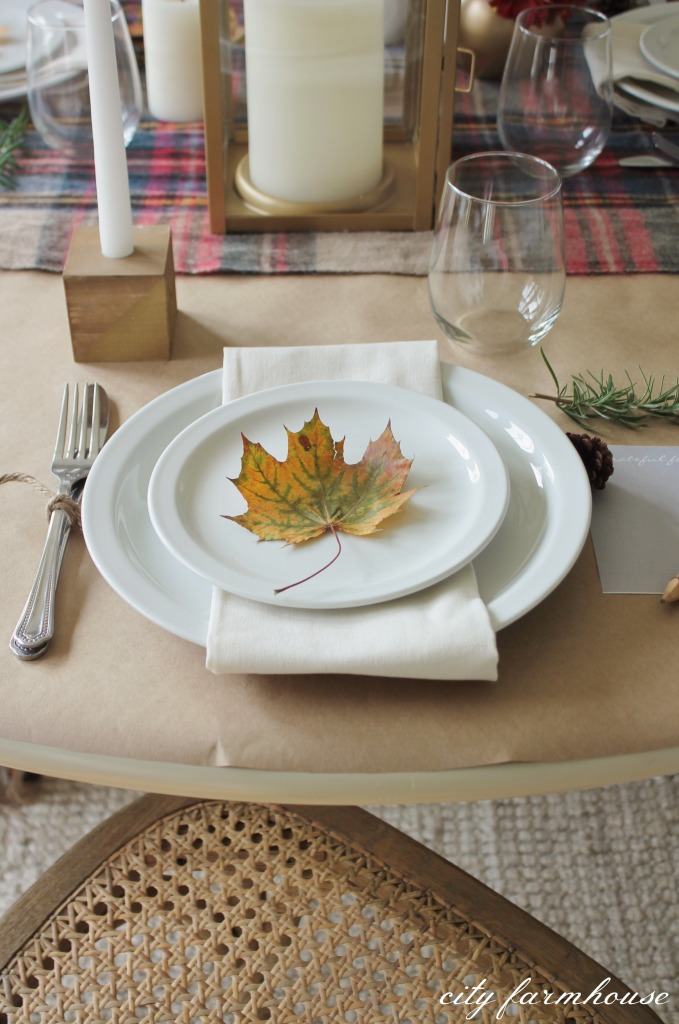 Mixing rustic elements with gold-Thanksgiving Table