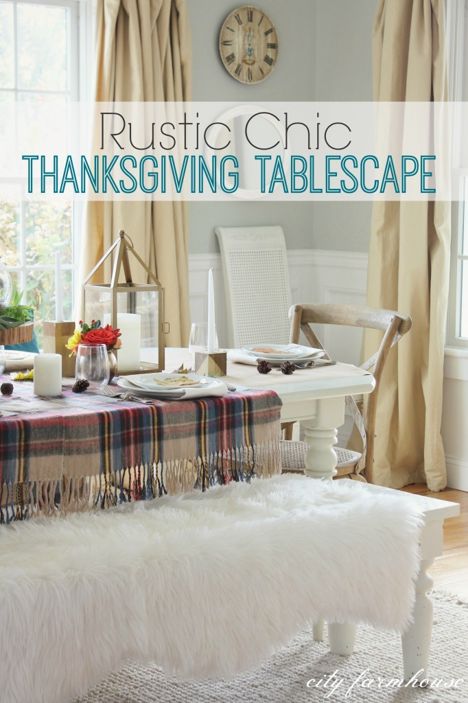 Rustic ChicTablescape-plaid, wool, faux fur, wood & gold
