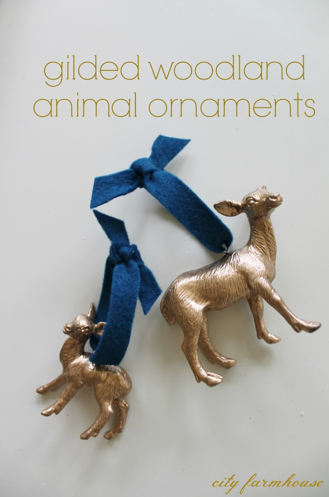 gilded woodland animal ornaments