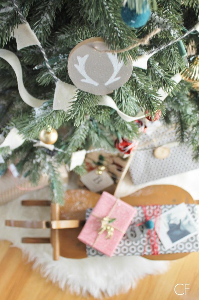 Birch Slice Antler Ornaments + Balsam Hill Tree