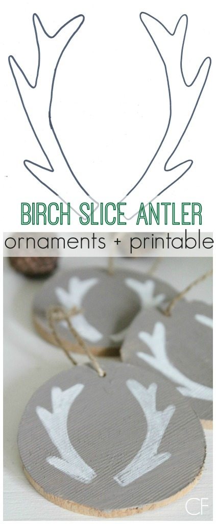 Birch Slice Antler Ornaments + Printable City Farmhouse