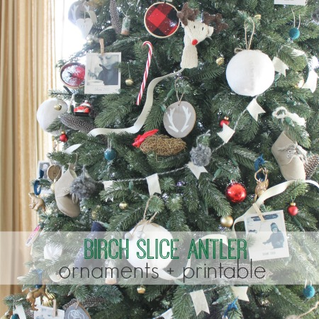 Birch Slice Antler Ornaments + Printable