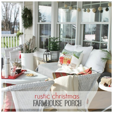 Christmas Farmhouse Porch- Rustic & Natural City Farmhouse Feature