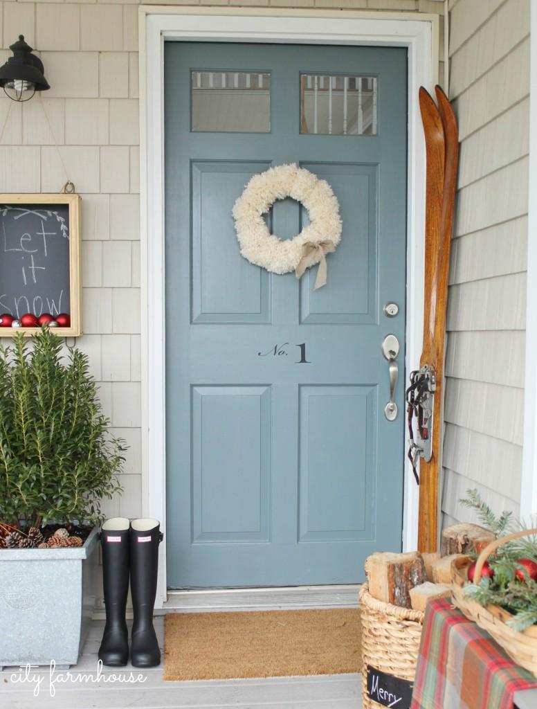 City-Farmhouse-Simple-Front-Door-Pom-Pom-Wreath-Vintage-Skis ...