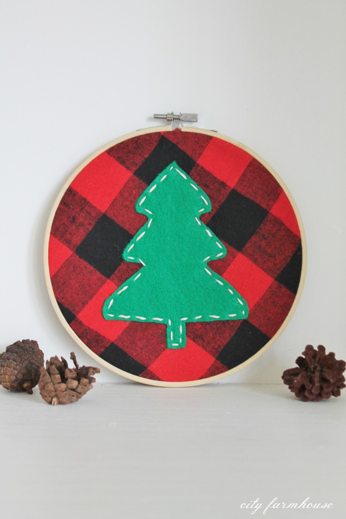 DIY Tree Holiday Hoop Using A Plaid Shirt