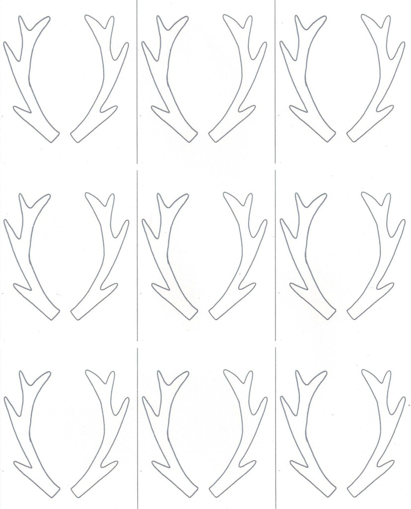 Free Antler Template + Printable For Birch Slice Ornaments