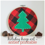 Holiday Hoop Art + Free Antler Printable
