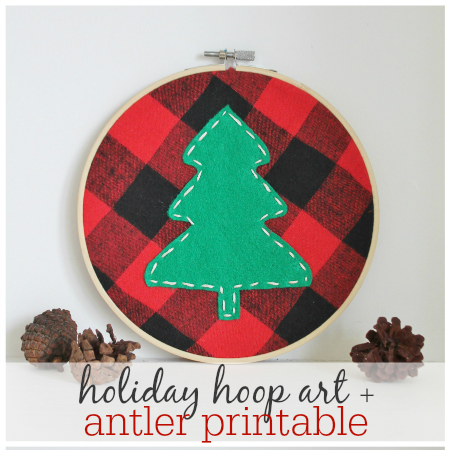 Holiday Hoop Art & Antler Printable feature