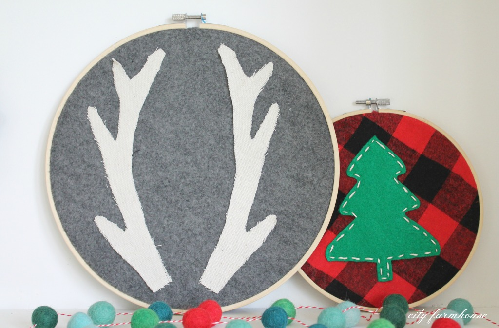 Holiday Hoop Art + Free Anlter Printable