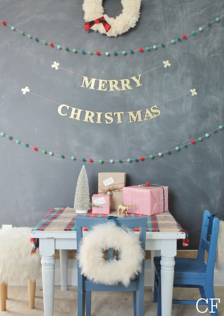 Holiday chalkboard + DIY Merry Christmas Banner