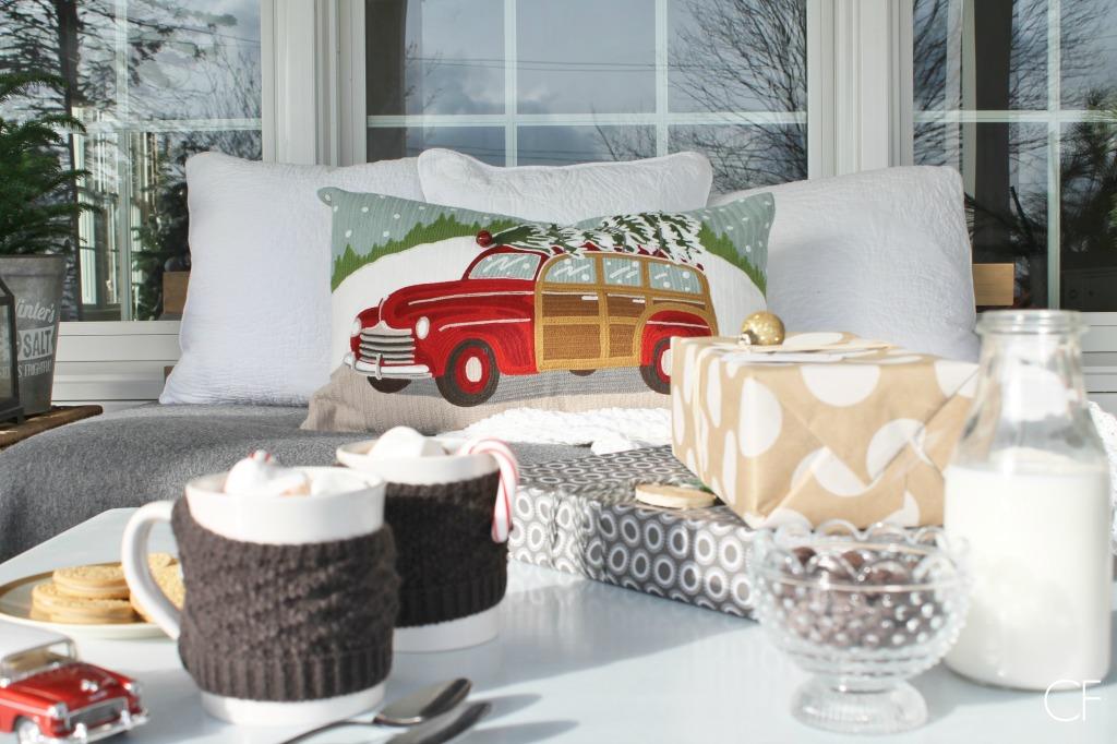 Rustic Christmas Farmhouse Porch & Hot Cocoa