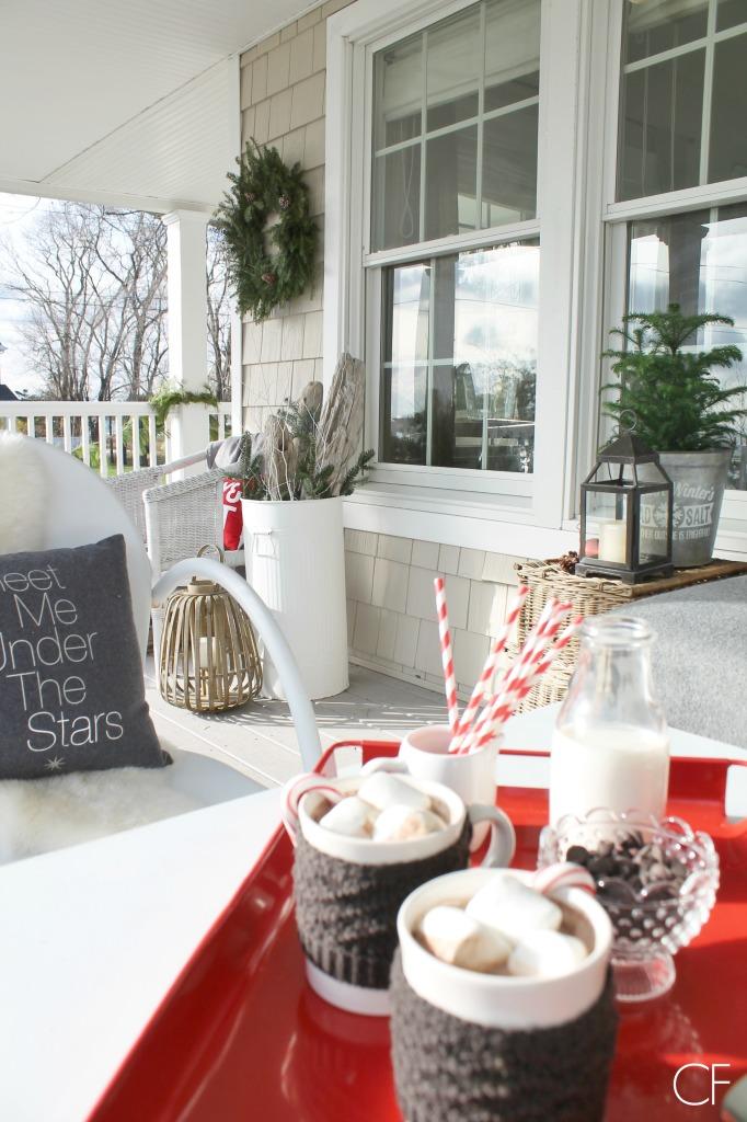 Rustic Christmas Farmhouse Porch-Knit Mug Cozy's & Hot Cocoa