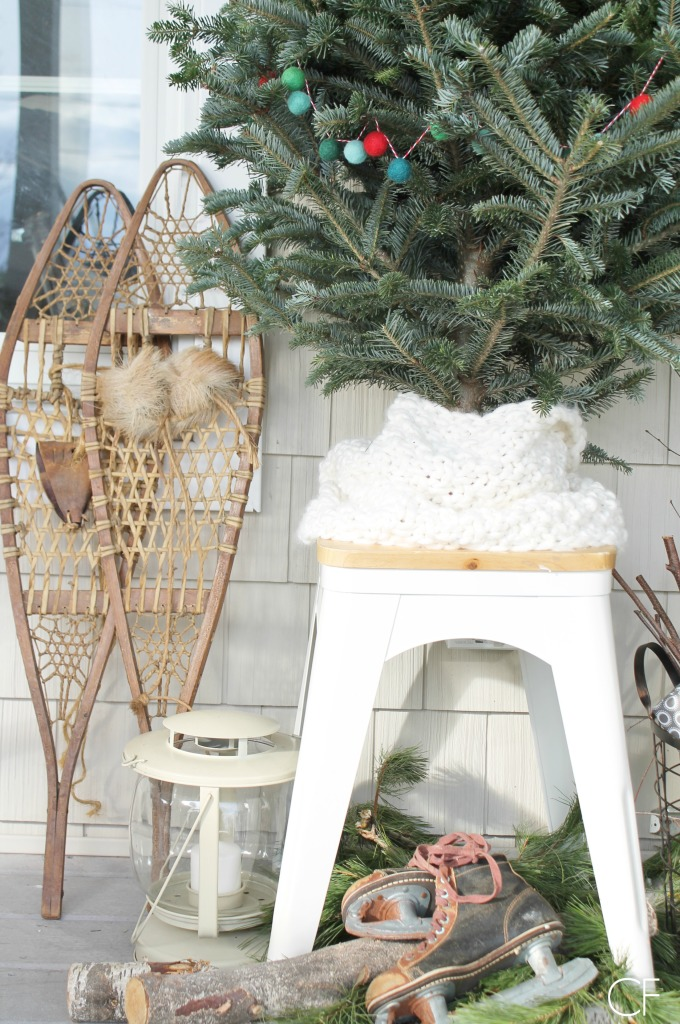 Rustic Christmas Farmhouse Porch-Old Shoe Shoes & Front Door Touches