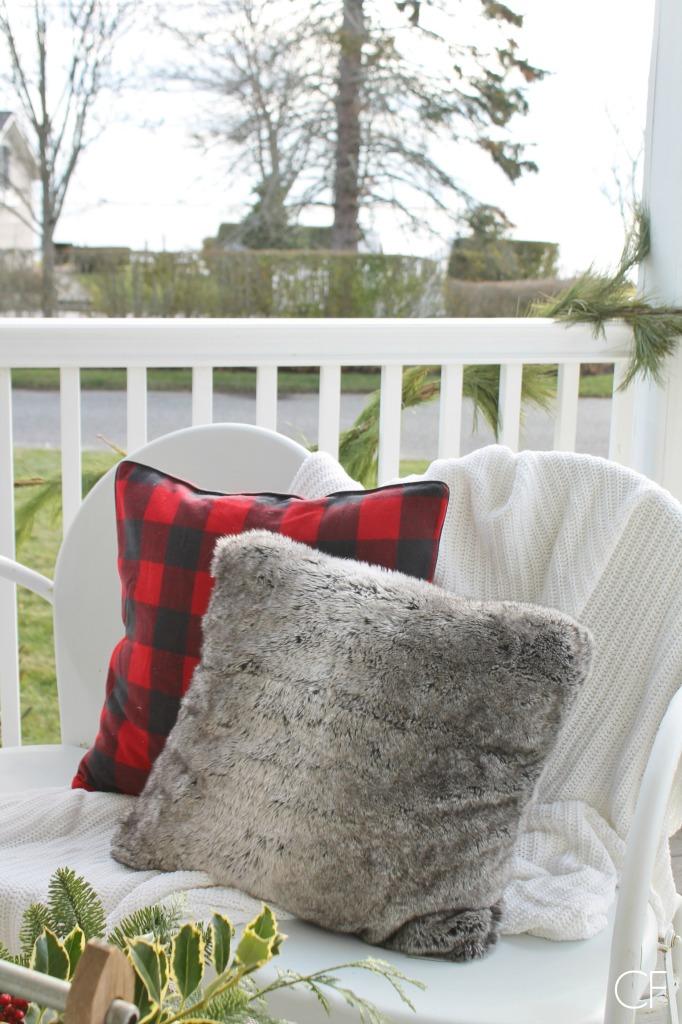 Rustic Christmas Farmhouse Porch-Red Buffalo Check PIllow