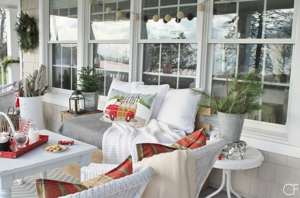 Rustic Christmas Farmhouse Porch-Rustic, Natural, Cozy  & Red