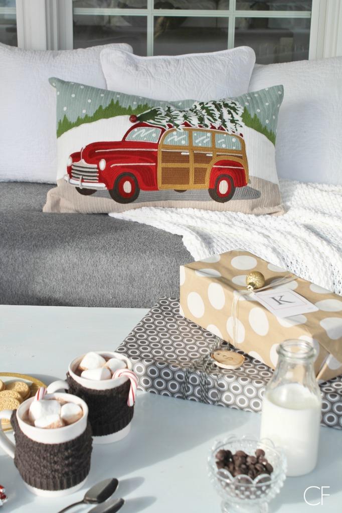 Rustic Christmas Farmhouse Porch-Wagon & Tree Pillow-Pottery Barn