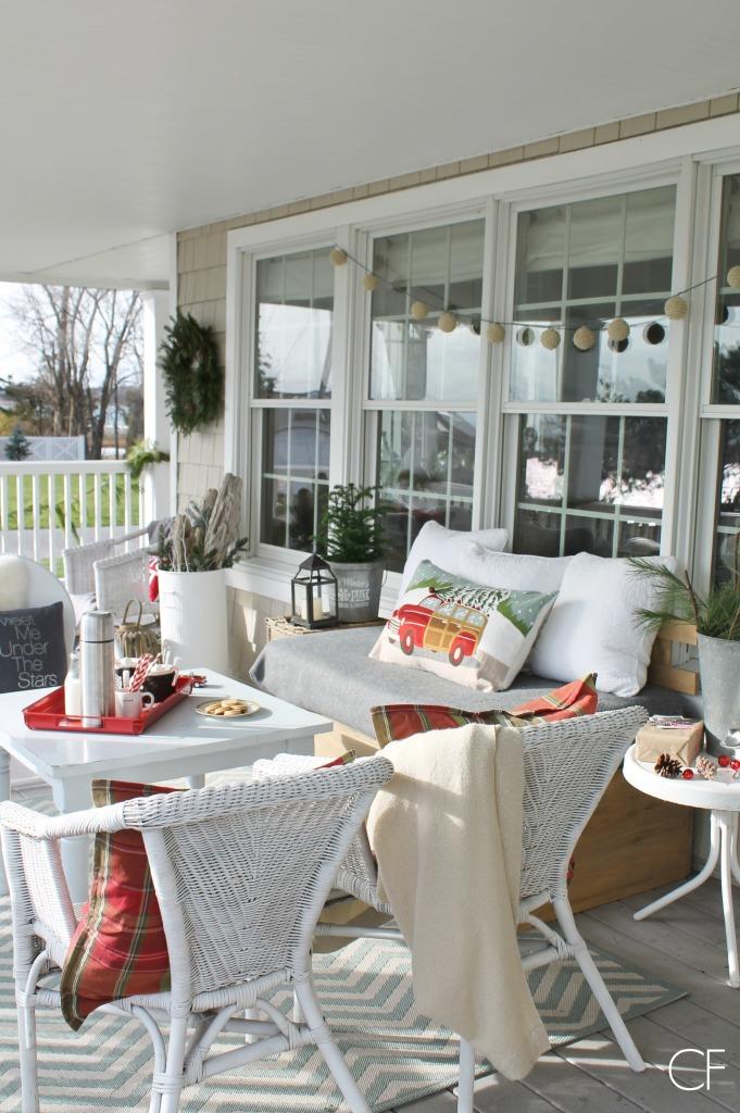 Rustic Christmas Farmhouse Porch-Whites & Reds
