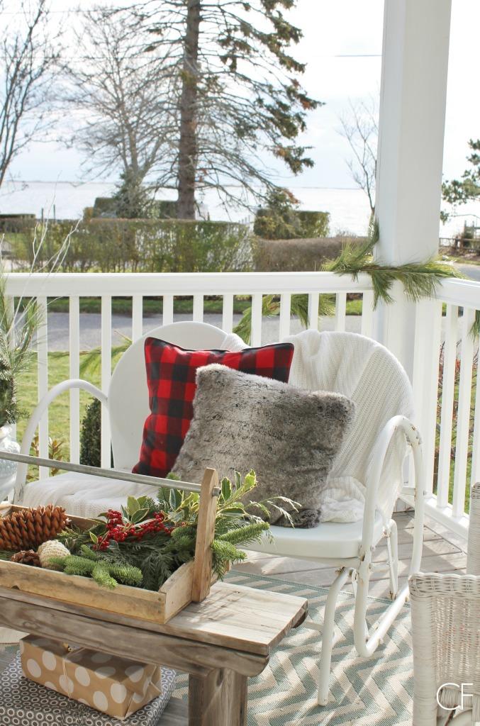 Rustic Christmas Farmhouse Porch-peace on earth