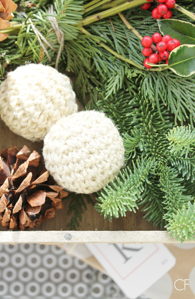 Rustic Christmas Farmhouse Porch-pinecones & holly