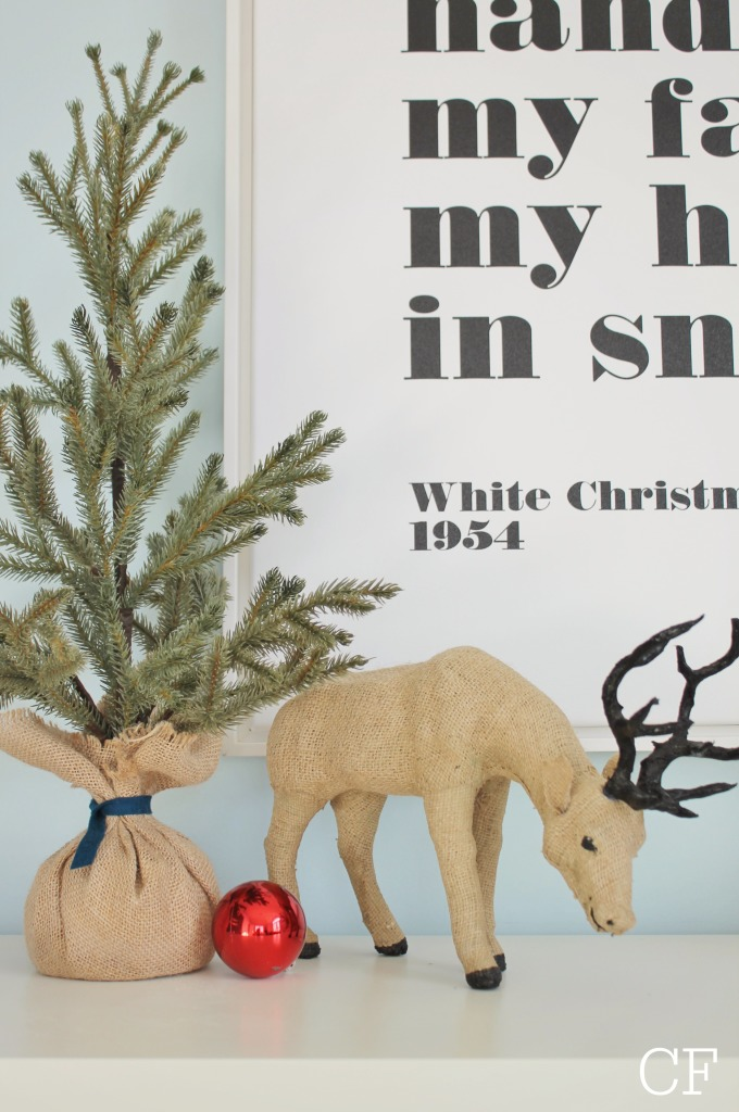 White Christmas Canvas From Lindsay Letters + Burlap Reindeer