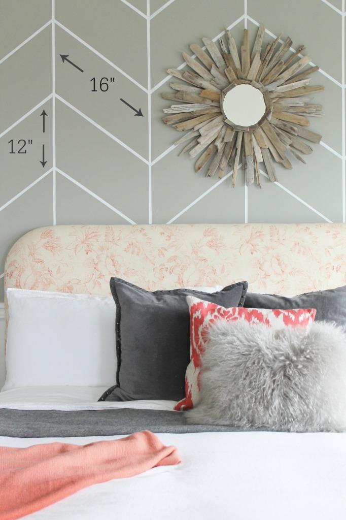 City Farmhouse DIY Headboard & Herringbone Wall Dimensions