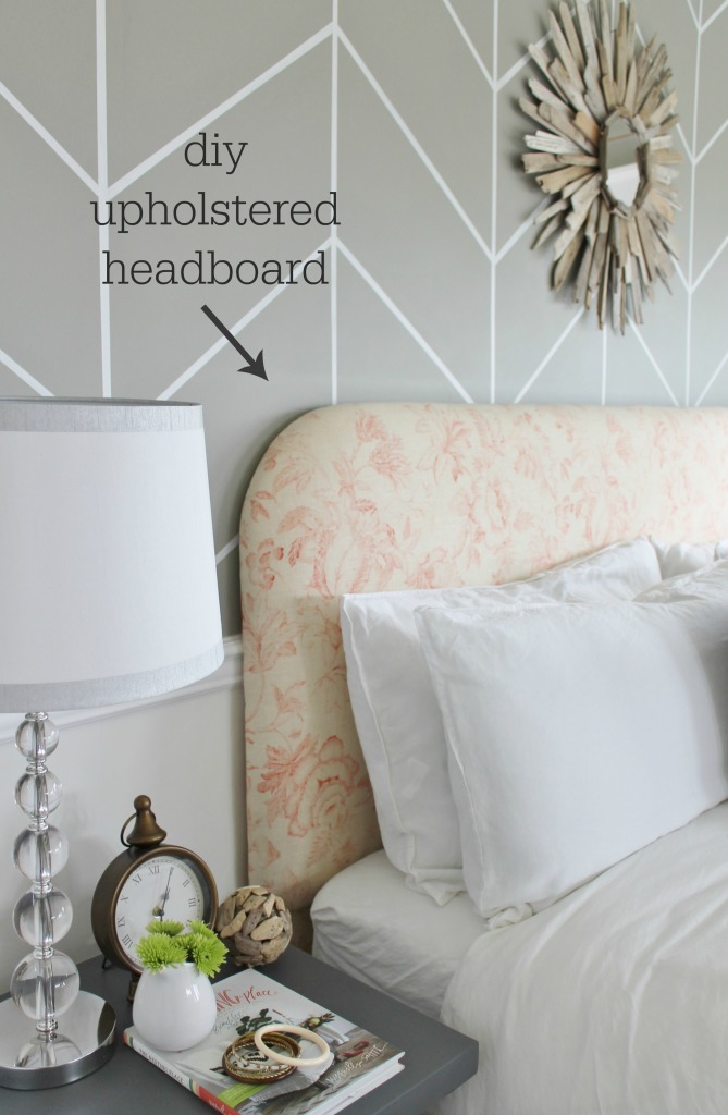 City Farmhouse Gray & Peach Bedroom DIY Upholstered Headboard