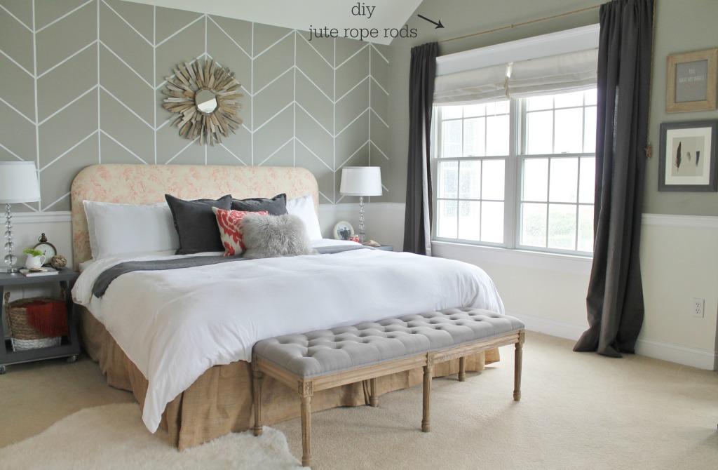 City Farmhouse Master Bedroom Reveal-DIY JUte Rope Rods