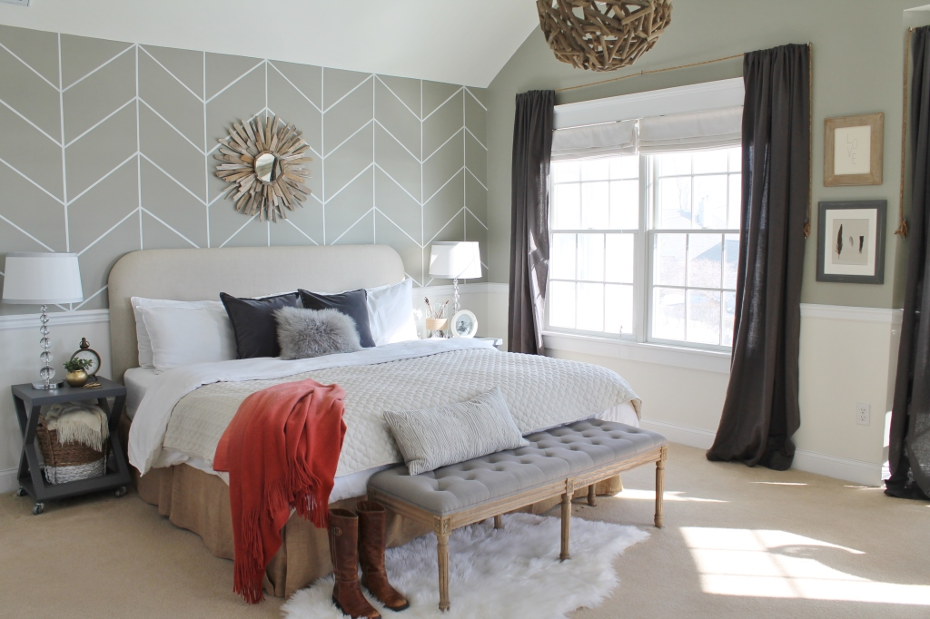 Rustic Chic Master Bedroom Reveal {DIY Headboard & Wallpaper}