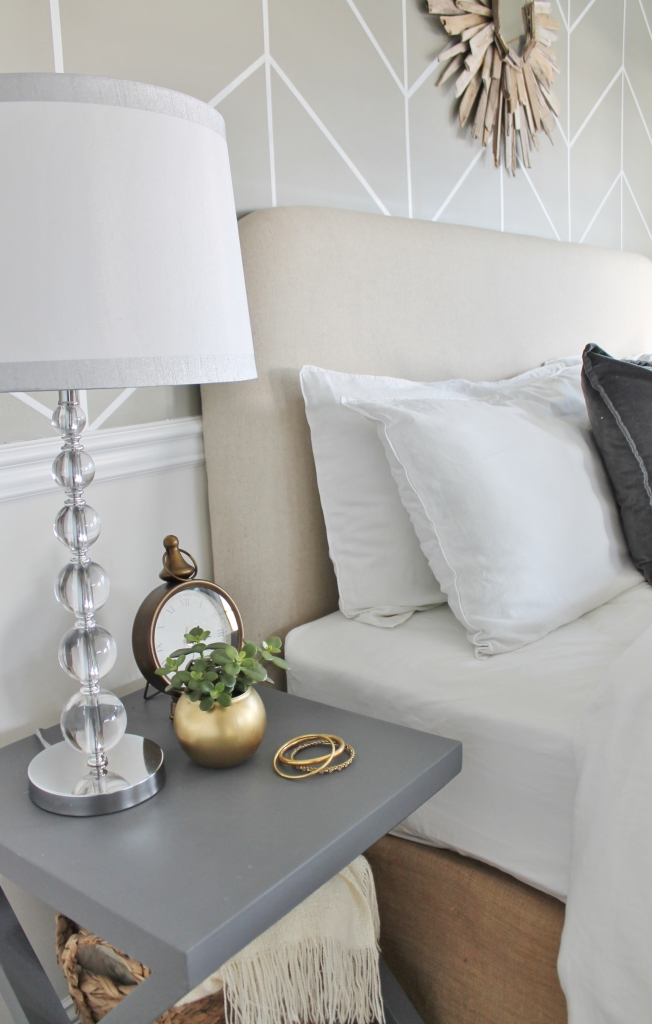 DIY Linen Headboard Update- Driftwwod Mirror- DIY Tables- Master Bedroom Makeover City Farmhouse