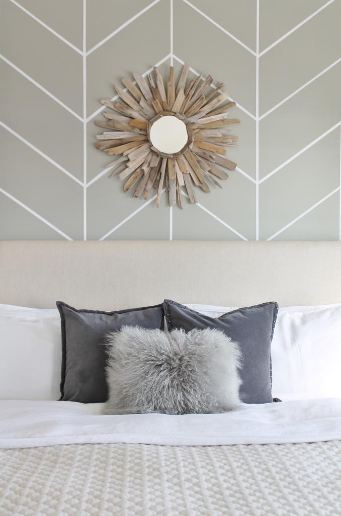 Linen Headboard, DIY Driftwood Mirror, West Elm Pillows