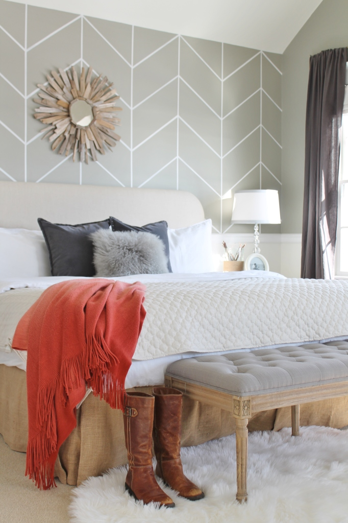 Neutral Bedroom With Persimmon