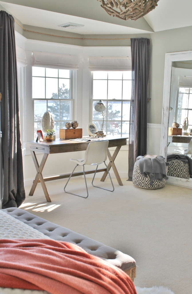 Grays & Warm Corals-Master Bedroom Reveal