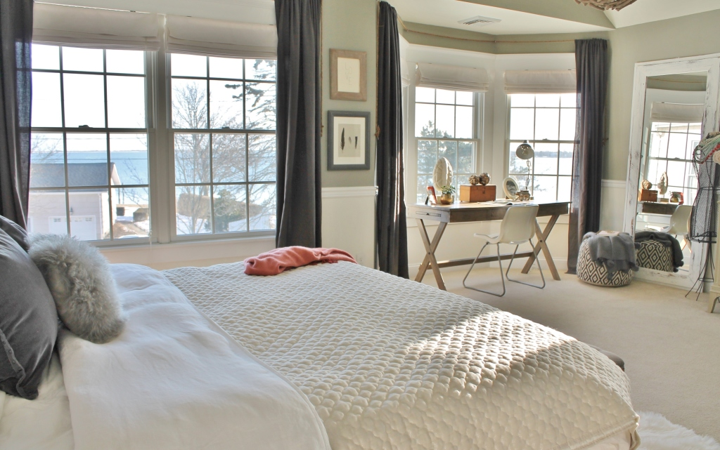 Rustic Chic Master Bedroom With Grays & Warm Coral
