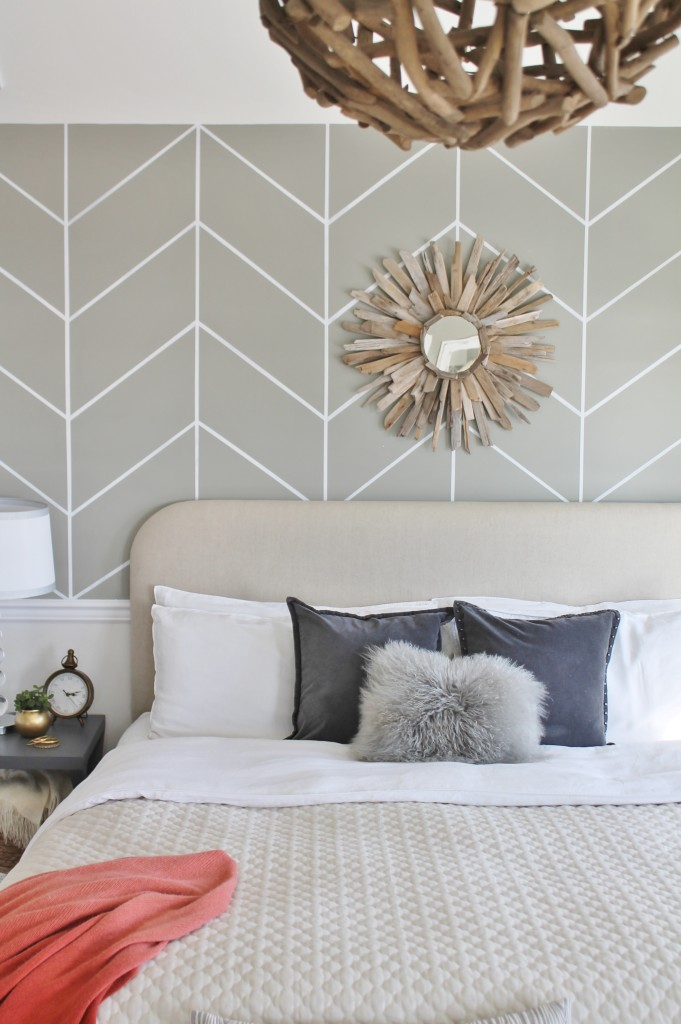 DIY Herringbone Wall & Driftwood  Mirror