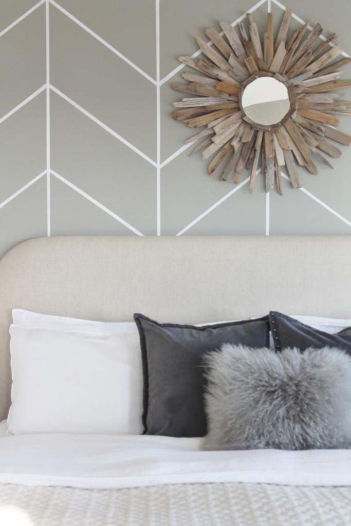 DIY Herringbone Wall & Gray Pillows from West Elm