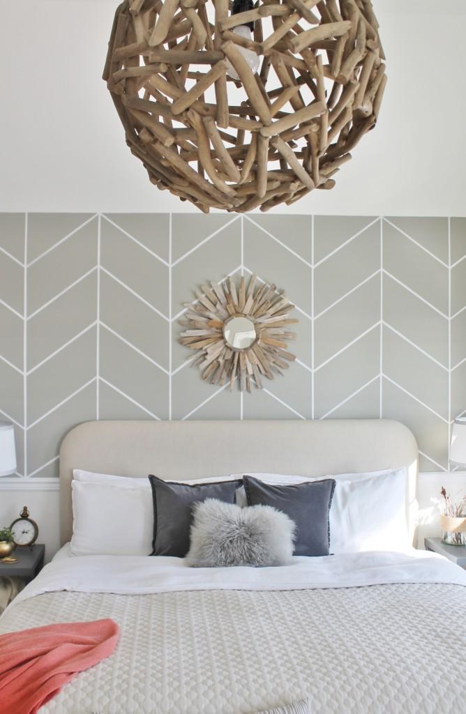 DIY Herringbone Wall & Orb Chandelier