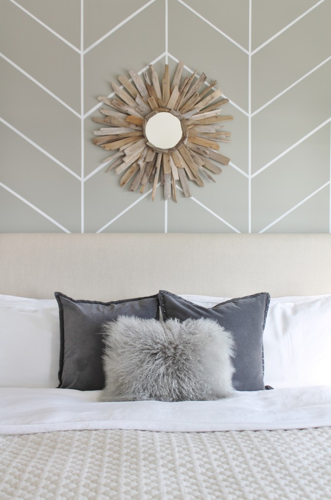 DIY Herringbone Wall & Rustic Chic Bedroom